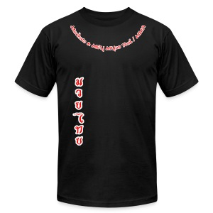 Muay Thai Ring Street or Cage Shirt (white/red no sleeve logos) - Men's Fine Jersey T-Shirt
