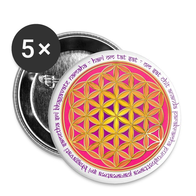 FLOWER OF LIFE - Moola Mantra | large buttons | Buttons large 2 2'' (5-pack)