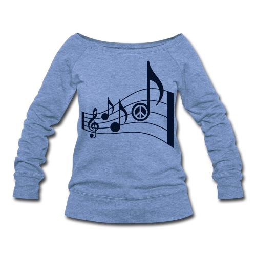 Women's Wideneck Sweatshirt - treble clef,t-shirt,summer fashion,song,peace signs,peace sign,music notes,music