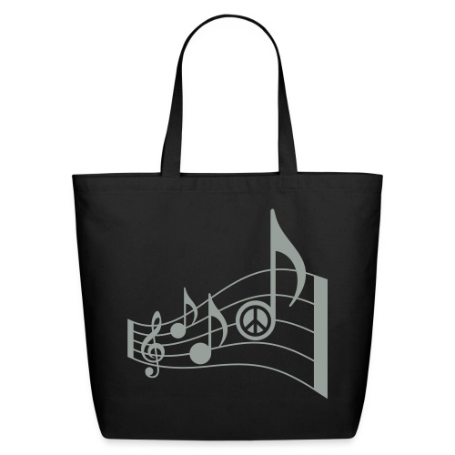 Eco-Friendly Cotton Tote - treble clef,t-shirt,summer fashion,song,peace signs,peace sign,music notes,music