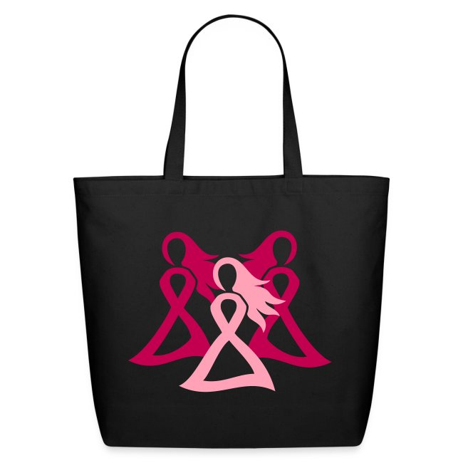 Breast Cancer Awareness Pink Ribbon Girls Stand Together Tote