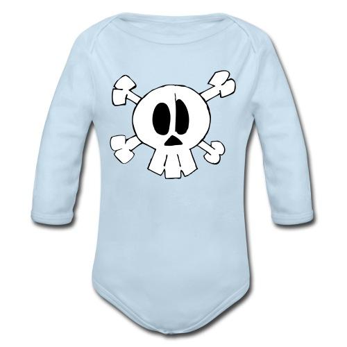 Lil Zomby Skull  - Organic Long Sleeve Baby Bodysuit