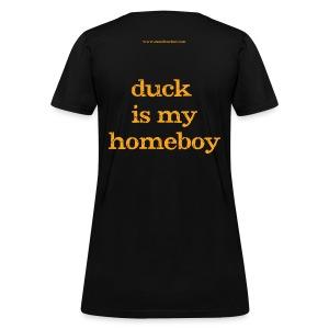 Women's FRONT/BACK: CC/duck homeboy (black) - Women's T-Shirt