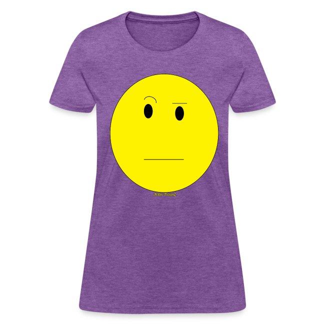 Monedesignz Female Emoticon Raised Eyebrow Tee Womens T Shirt