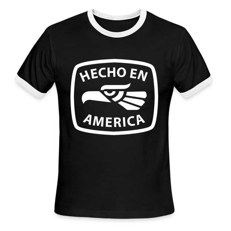 Hecho en America (White) Men's Ringer T-Shirt by American Apparel - Men's Ringer T-Shirt