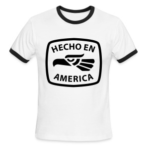 Hecho en America (Black) Men's Ringer T-Shirt by American Apparel - Men's Ringer T-Shirt