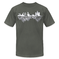 T-Shirts ~ Men's T-Shirt by American Apparel ~ Detroit Skyline With Roots Men's American Apparel Tee