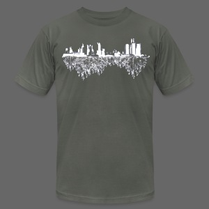 Detroit Skyline With Roots Men's American Apparel Tee - Men's T-Shirt by American Apparel