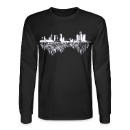 Long Sleeve Shirts ~ Men's Long Sleeve T-Shirt ~ Detroit Skyline With Roots Men's Long Sleeve Tee