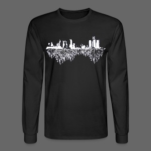 Detroit Skyline With Roots Men's Long Sleeve Tee - Men's Long Sleeve T-Shirt