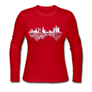 Long Sleeve Shirts ~ Women's Long Sleeve Jersey T-Shirt ~ Detroit Skyline With Roots Women's Long Sleeve Jersey Tee