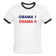 T-Shirts ~ Men's Ringer T-Shirt ~ OBAMA 1, OSAMA 0 - Men's Ringer T
