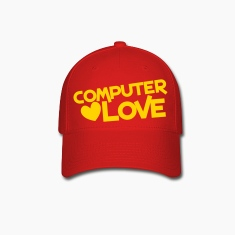 computer love with heart Caps