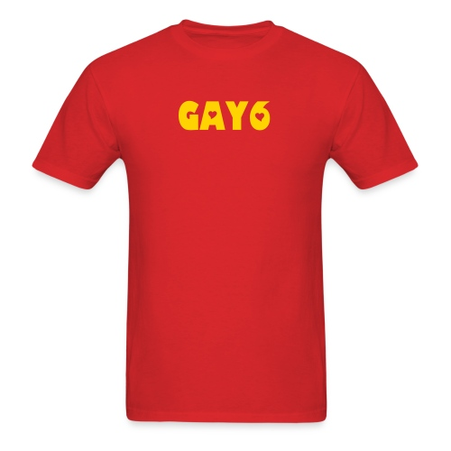 GAY6 - HAPPY YELLOW ON FLAMING RED - Men's T-Shirt