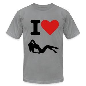 I heart women T-Shirt (grey/black/red) - Men's Fine Jersey T-Shirt