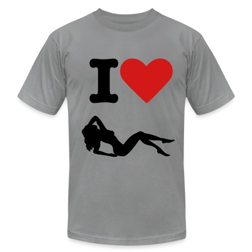 I heart women T-Shirt (grey/black/red) - Men's Fine Jersey T-Shirt