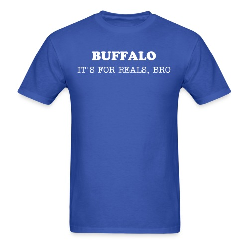 BUFFALO - IT'S FOR REALS - SABRE WHITE ON BUFFALO BLUE - Men's T-Shirt