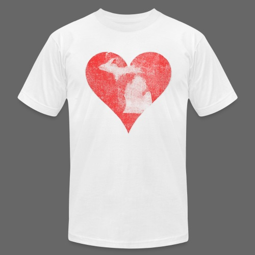 Mi Distressed Heart Men's American Apparel T-Shirt - Men's T-Shirt by American Apparel
