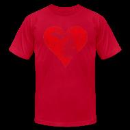 T-Shirts ~ Men's T-Shirt by American Apparel ~ Mi Distressed Heart Men's American Apparel T-Shirt