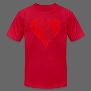 Mi Distressed Heart Men's American Apparel T-Shirt - Men's Fine Jersey T-Shirt