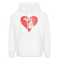 Hoodies ~ Men's Hoodie ~ Mi Distressed Heart Men's Hooded Sweatshirt