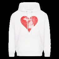 Hoodies ~ Men's Hoodie ~ Mi Distressed Heart Men's Hooded Sweatshirt