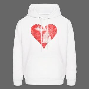 Mi Distressed Heart Men's Hooded Sweatshirt - Men's Hoodie