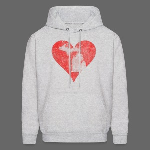 Mi Distressed Heart Men's Hooded Sweatshirt - Men's Hoodie