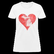 T-Shirts ~ Women's T-Shirt ~ Mi Distressed Heart Women's Standard Weight T-Shirt