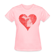 T-Shirts ~ Women's T-Shirt ~ Mi Distressed Heart Women's Standard Weight T-Shirt