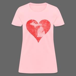 Mi Distressed Heart Women's Standard Weight T-Shirt - Women's T-Shirt