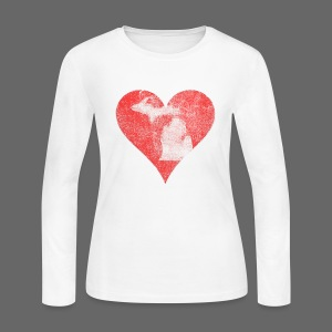 Mi Distressed Heart Women's Long Sleeve T-Shirt - Women's Long Sleeve Jersey T-Shirt