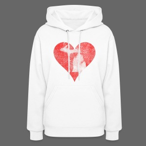 Mi Distressed Heart Women's Hooded Sweatshirt - Women's Hoodie