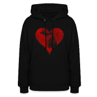 Hoodies ~ Women's Hoodie ~ Mi Distressed Heart Women's Hooded Sweatshirt