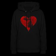 Hoodies ~ Women's Hoodie ~ Mi Distressed Heart Women's Hooded Sweatshirt