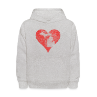 Sweatshirts ~ Kids' Hoodie ~ Mi Distressed Heart Kid's Hooded Sweatshirt