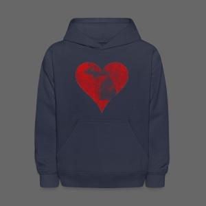 Mi Distressed Heart Kid's Hooded Sweatshirt - Kids' Hoodie