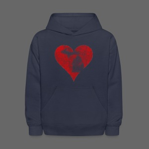 Mi Distressed Heart Kid's Hooded Sweatshirt - Kids' Hoodie