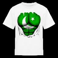 Kids' Shirts ~ Kids' T-Shirt ~ Pakistan Flag Ripped Muscles, six pack, chest t-shirt