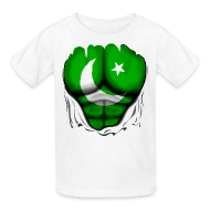 Kids' Shirts ~ Kids' T-Shirt ~ Pakistan Flag Ripped Muscles, six pack, chest t-shirt