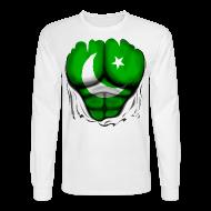 Long Sleeve Shirts ~ Men's Long Sleeve T-Shirt ~ Pakistan Flag Ripped Muscles, six pack, chest t-shirt