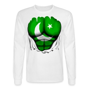 Pakistan Flag Ripped Muscles, six pack, chest t-shirt - Men's Long Sleeve T-Shirt