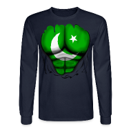 Long Sleeve Shirts ~ Men's Long Sleeve T-Shirt ~ Pakistan Flag Ripped Muscles, six pack, chest t-shirt