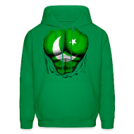 Hoodies ~ Men's Hoodie ~ Pakistan Flag Ripped Muscles, six pack, chest t-shirt