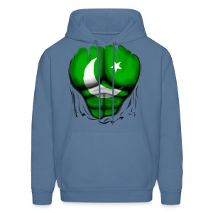 Pakistan Flag Ripped Muscles, six pack, chest t-shirt - Men's Hoodie