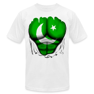 T-Shirts ~ Men's T-Shirt by American Apparel ~ Pakistan Flag Ripped Muscles, six pack, chest t-shirt