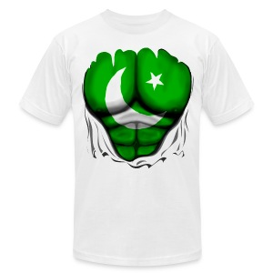 Pakistan Flag Ripped Muscles, six pack, chest t-shirt - Men's T-Shirt by American Apparel