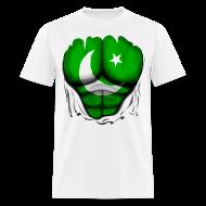 T-Shirts ~ Men's T-Shirt ~ Pakistan Flag Ripped Muscles, six pack, chest t-shirt