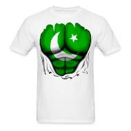 T-Shirts ~ Men's T-Shirt ~ Pakistan Flag Ripped Muscles, six pack, chest t-shirt