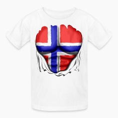 Norway Flag Ripped Muscles, six pack, chest t-shirt